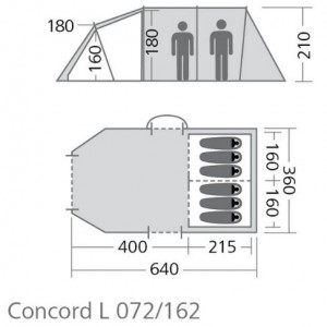 Outwell Concorde L 6 man inflatable tent floorplan