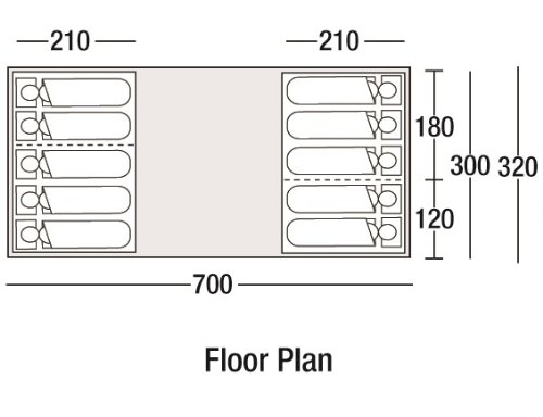 Sunncamp Sapphire 1000 10 man inflatable tent top schematic