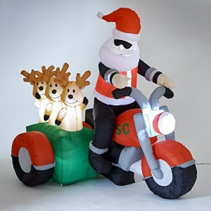 Inflatable Santa & Reindeers on Motorbike Light Up Xmas Decoration