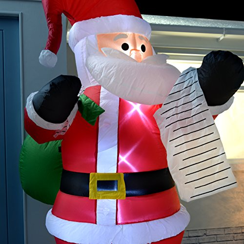 Werchristmas 180 cm large pre lit santa inflatable for 180 degrees christmas decoration