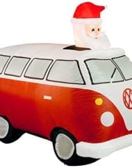 Inflatable VW camper van with Santa