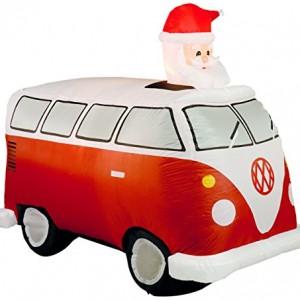 Inflatable VW camper van with Santa