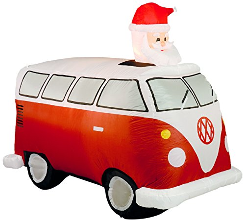 Inflatable vw camper van with santa in red inflatable for Motor for inflatable decoration