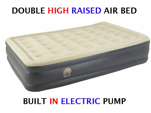 Inflatable High Pillow Raised Double Flocked Air Bed