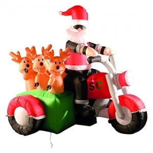 Inflatable LED Lit Santa on motorbike with reindeers in sidecar