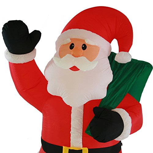 Large pre lit inflatable father christmas santa claus with