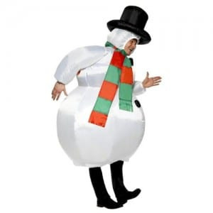 Inflatable snowman costume side