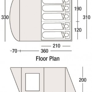 Sunncamp Breton 500 inflatable tent - floorplan