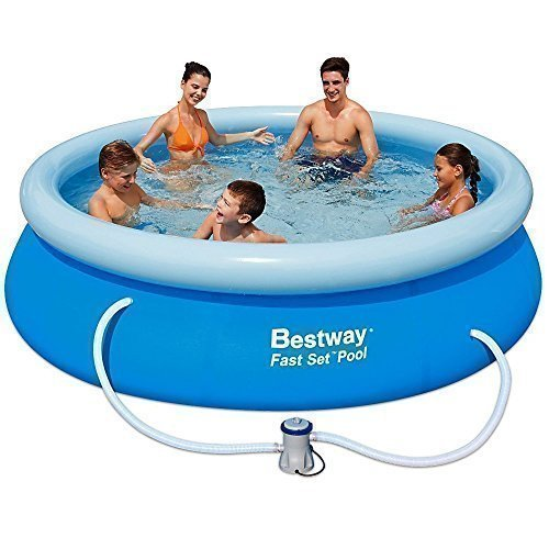 Bestway Inflatable Fast Set Family Garden Round Paddling Swimming Pool 10x30 A Bw57109 Inflatable