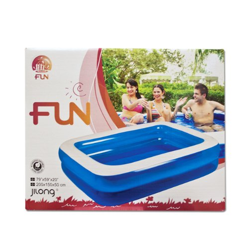 Gardenkraft 2m garden inflatable rectangular swimming pool for Garden inflatable swimming pool