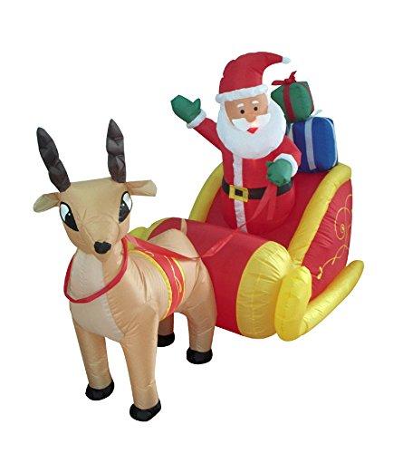 werchristmas 180 cm large pre lit santa reindeer sleigh