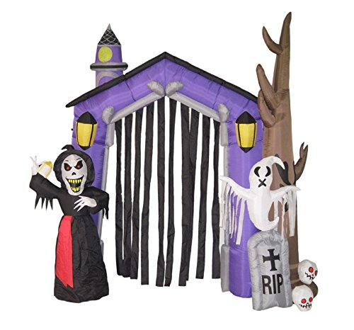 werchristmas 270 cm large pre lit haunted house inflatable halloween decoration with lights and fan multi colour