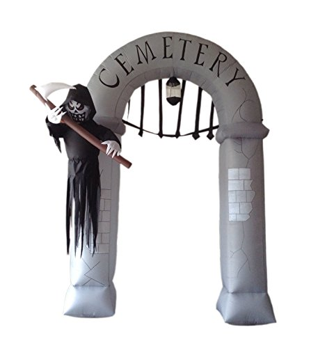 werchristmas 360 cm large pre lit cemetery arch inflatable halloween decoration with lights and fan multi colour