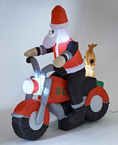 Inflatable Santa Reindeers On Motorbike Light Up Xmas