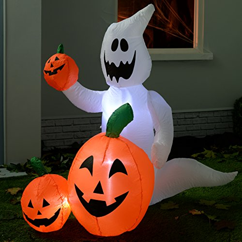werchristmas 120 cm large pre lit ghost and pumpkins. Black Bedroom Furniture Sets. Home Design Ideas