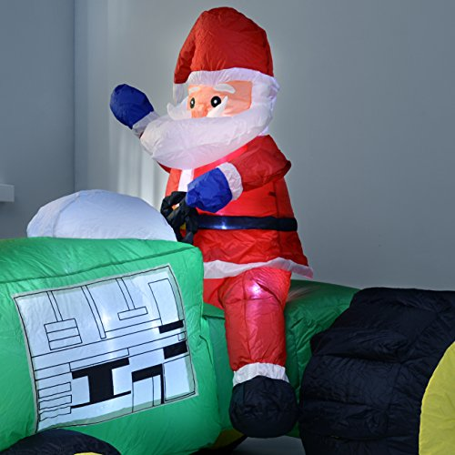 werchristmas 150 cm large pre lit santa tractor inflatable christmas decoration with led lights and fan multi colour inflatable