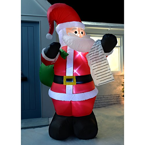 werchristmas 180 cm large pre lit santa inflatable christmas decoration with led lights and fan multi colour inflatable
