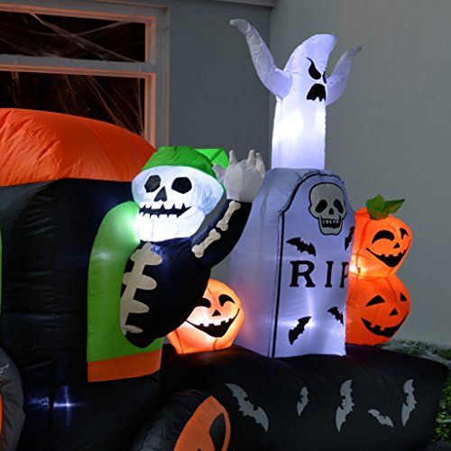 werchristmas 210 cm pre lit ghost train inflatable halloween decoration with led lights and fan multi colour inflatable