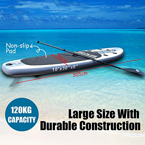 GYMAX 10FT SUP Surfing Board, Inflatable Stand Up Flexible Paddle Board  with Adjustable Paddle, Carry Bag, Manual Pump, Repair Kit, Removable Fin  for